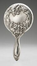 Silver Holloware, American:Mirrors and Vanity-related , An American Silver Hand Mirror. Maker unknown, Early TwentiethCentury. Marked on the handle STERLING. 8.5in. long...