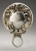 Silver Holloware, American:Mirrors and Vanity-related , An American Silver Hand Mirror. Maker unknown, Early TwentiethCentury. Script monogram to the reverse CWH, indisc...