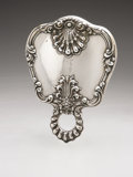 Silver Holloware, American:Mirrors and Vanity-related , An American Silver Hand Mirror And Brush. Dominick & Haff, NewYork, NY, Late Nineteenth Century. Script monogram to t... (Total:2 Items)