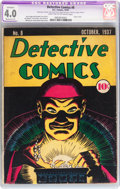 Platinum Age (1897-1937):Miscellaneous, Detective Comics #8 (DC, 1937) CGC Apparent VG 4.0 Moderate (P) Light tan to off-white pages....
