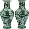 Asian:Chinese, A PAIR OF CHINESE FAMILLE VERTE PORCELAIN VASES. Marks: (chop markswithin double rings). 16 inches high (40.6 cm). ... (Total: 2Items)