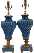 Decorative Arts, French:Lamps & Lighting, A PAIR OF LOUIS XVI-STYLE LAPIS LAZULI AND GILT BRONZE MOUNTED URNLAMPS, 20th century. 19-1/4 inches high (48.9 cm). ... (Total: 2Items)