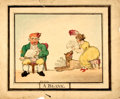 """Books:Original Art, [Original Art]. Artist Unknown. Original Ink and Watercolor in the Style of Thomas Rowlandson, A Blank. Measures 13""""..."""