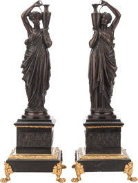 A PAIR OF NEOCLASSICAL-STYLE BRONZE AND ONYX FIGURES, 20th century 20-1/8 inches high (51.1 cm)