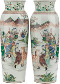 Asian:Chinese, A PAIR OF CHINESE FAMILLE VERTE PORCELAIN VASES. 16-3/4 inches high(42.5 cm). ... (Total: 2 Items)