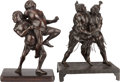 Asian:Japanese, TWO JAPANESE PATINATED BRONZE FIGURAL GROUPS. 12-1/2 inches high(31.8 cm) (tallest). ... (Total: 2 Items)