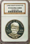 Modern Issues: , 1998-S $1 Robert F. Kennedy Silver Dollar PR70 Ultra Cameo NGC. NGC Census: (65). PCGS Population (51). Numismedia Wsl. Pr...