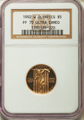 1992-W G$5 Olympic Gold Five Dollar PR70 Ultra Cameo NGC. NGC Census: (2530). PCGS Population (292). Mintage: 77,313. Nu...