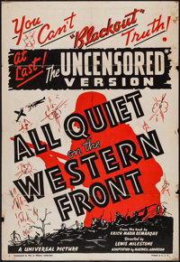 """All Quiet on the Western Front (Universal, R-1938). One Sheet (28"""" X 41"""") Uncensored Version. Academy Award Wi..."""
