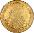 Colombia, Colombia: Ferdinand VII gold 8 Escudos 1818 NR-JF AU55 NGC,...