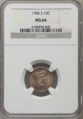 Barber Dimes: , 1906-S 10C MS64 NGC. NGC Census: (27/25). PCGS Population (24/48).Mintage: 3,136,640. Numismedia Wsl. Price for problem fr...