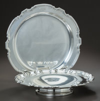 AN AMERICAN SILVER TRAY AND TAZZA, Tiffany & Co., New York, New York, circa 1924-1925 and Dominick & Haf...