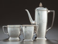 Silver Holloware, American:Coffee Pots, A THREE PIECE AMERICAN SILVER AND EBONIZED WOOD COFFEE SERVICE,Tiffany & Co., New York, New York, circa 1929-1930. Marks to...(Total: 3 Items)