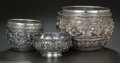 Asian:Other, THREE BURMESE SILVER BOWLS, MG. Shwe Yon Bros., Rangoon, Myanmar& other makers unidentified, 20th century. Marks to largest...(Total: 3 Items)