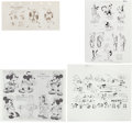 animation art:Model Sheet, Mickey Mouse and Friends Printed Animation Model Sheet Group (WaltDisney, 1930s).... (Total: 6 Original Art)