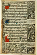 Books:Prints & Leaves, [Early Leaf]. Early Vellum Leaf from a French Book of Hours. Printed by G. Hardouin, 1532. With hand-painted and illuminated...