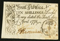 Colonial Notes:South Carolina, South Carolina April 10, 1778 10s Very Fine-Extremely Fine.. ...