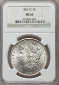 Morgan Dollars: , 1882-CC $1 MS63 NGC. NGC Census: (4297/8761). PCGS Population (8507/17321). Mintage: 1,133,000. Numismedia Wsl. Price for p...