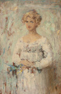 Fine Art - Painting, American:Antique  (Pre 1900), CHESTER LOOMIS (American, 1852-1924). Portrait of a Lady withParakeets, 1889. Oil on panel. 9-1/8 x 6-1/8 inches (23.2 ...