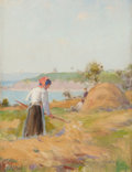 Fine Art - Painting, American:Antique  (Pre 1900), FARQUHAR MCGILLVRAY KNOWLES (American, 1859-1932). Haymaking,Brittany, 1895. Oil on panel. 6 x 4-1/2 inches (15.2 x 11....