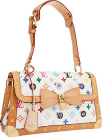 Louis Vuitton Limited Edition White Monogram Multicolore Eye Need You Bag by Takashi Murakami Very Good Conditi