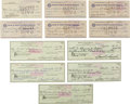 Golf Collectibles:Miscellaneous, Signed Personal Checks Lot Of 11 From The Sam Snead Collection....