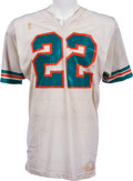 Football Collectibles:Uniforms, 1973-75 Mercury Morris Game Worn Miami Dolphins Jersey, MEARS A10 - Huge Team Repair Across Front!...
