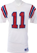 Football Collectibles:Uniforms, 1983-86 Tony Eason Game Worn New England Patriots Jersey, MEARS A10 - With Built In Hand Warmers....