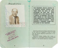 Golf Collectibles:Miscellaneous, 1956 US Passport Issued To Sam Snead....