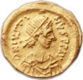 Ancients:Byzantine, Ancients: Justin II (AD 565-578). AV tremissis (16mm, 1.51 gm,6h)....