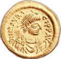 Ancients: Maurice Tiberius (AD 582-602). AV semissis (18mm, 2.27 gm, 6h).
