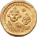Ancients:Byzantine, Ancients: Heraclius (AD 610-641), with Heraclius Constantine (AD613-641). AV solidus (21mm, 4.41 gm, 6h). ...