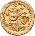 Ancients:Byzantine, Ancients: Heraclius (AD 610-641), with Heraclius Constantine (AD613-641). AV solidus (21mm, 4.47 gm, 6h)....