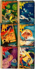 Books:Pulps, [Pulps]. Six Issues of Amazing Stories. 1930. Originalprinted wrappers, five rebacked. Some rubbing, creasing a...(Total: 6 Items)