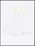 Mainstream Illustration, Joyce Brothers. Doodle for Hunger. Crayon on paper. 9 x 12in.. Signed. ...