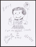 Mainstream Illustration, Robert Vaughn. Doodle for Hunger, 1999. Crayon on paper. 9 x12 in.. Signed. ...