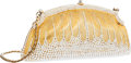 "Luxury Accessories:Bags, Judith Leiber Half Bead White Crystal & Gold ChatelaineMinaudiere Evening Bag. Good to Very Good Condition. 8""Width ..."