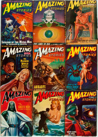 [Pulps]. Nine Issues of Amazing Stories, Vol. 20, Nos. 1-9. 1946. Original printed w