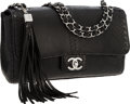 """Luxury Accessories:Accessories, Chanel Black Python Medium Flap Bag with Tassel & Silver Hardware. Very Good to Excellent Condition. 10"""" Width x 5.5"""" ..."""