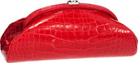 """Chanel Red Alligator Timeless Clutch Bag Pristine Condition 11"""" Width x 4.5"""" Height x 3.5"""" Depth<..."""