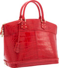 "Luxury Accessories:Bags, Louis Vuitton Red Alligator Lockit MM Bag. ExcellentCondition. 14"" Width x 11.5"" Height x 7"" Depth. ..."