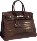 "Luxury Accessories:Bags, Hermes 35cm Matte Havane Porosus Crocodile Birkin Bag with Palladium Hardware. Pristine Condition. 14"" Width x 10"" Hei..."