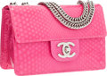 "Luxury Accessories:Bags, Chanel Pink Glazed Python Mini Flap Bag with Silver Hardware.Pristine Condition. 7"" Width x 4.5"" Height x 3""Depth..."