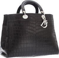 "Christian Dior Matte Black Crocodile Diorissimo Tote Bag Excellent Condition 15"" Width x 10"" Heig"