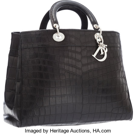 "Christian Dior Matte Black Crocodile Diorissimo Tote BagExcellent Condition15"" Width x 10"" Height x 7"" Depth..."