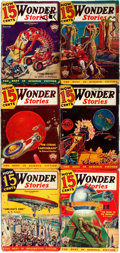 Books:Pulps, [Pulps]. Six Issues of Wonder Stories. 1935. Originalprinted wrappers. Panels rubbed, edges worn. Some tearing to s...(Total: 6 Items)