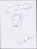 Movie/TV Memorabilia:Autographs and Signed Items, Marla Gibbs. Doodle for Hunger. Crayon on Paper. 9 x 12Inches. Estimate: $100-$300. Condition: Fine. . ...