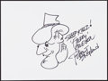 Movie/TV Memorabilia:Autographs and Signed Items, Robert Englund. Doodle for Hunger. Marker on Paper. 9 x 12Inches. Estimate: $100-$300. Condition: Fine. ...