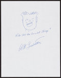 Movie/TV Memorabilia:Autographs and Signed Items, Art Linkletter. Doodle for Hunger. Ink on Paper. 9 x 12Inches. Estimate: $100-$300. Condition: Fine. . ...