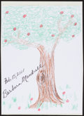 Movie/TV Memorabilia:Autographs and Signed Items, Barbara Mandrell. Doodle for Hunger. Crayon on Paper. 9 x 12Inches. Estimate: $100-$300. Condition: Fine. Paper is moun...